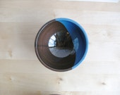 Ceramic bowl Wheel thrown bowl Moon shape decoration Blue brown glazed bowl - Ready to ship