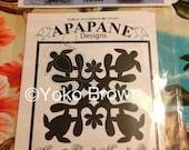 "Hawaiian quilt pattern ""Honu & Beach Naupaka"" 20 inch x 20 inch"