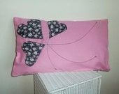 Pink decorative cover for pillows, 3 hearts, perfect gift for Valentine's Day  - 20 x 12