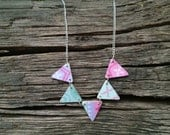 Plywood Bunting necklace in Pastel Aztec prints