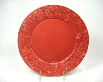 Ceramic Red Plate, Coral Platter, Red Dinnerware, Coral Home Decor, Red Kitchen, Serving Plate, Red Dish, Dining Plate, Red Pottery Dish