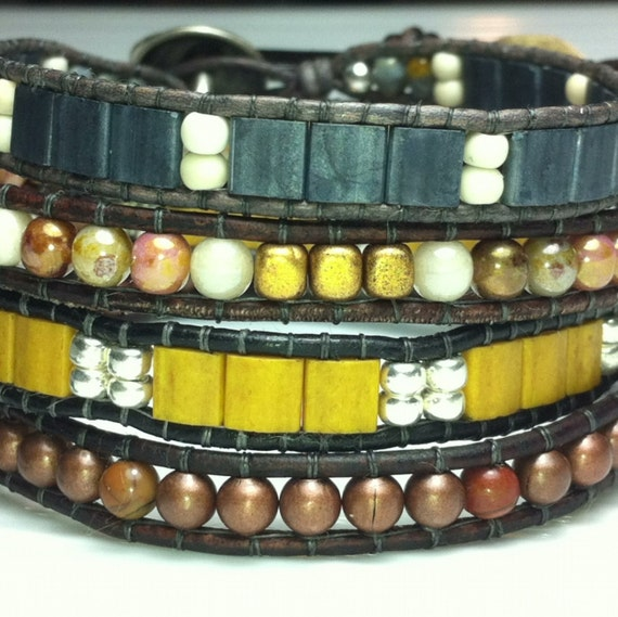 Copper leather single wrap beaded bracelet. Single wrap leather cuff bracelet. One of a kind.