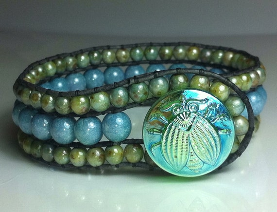 Spring Blues and Greens - lovely triple row beaded cuff bracelet with special czech glass button