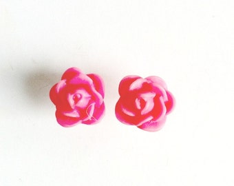 Pink Rose Stud Earrings resin hot pink post Handmade Gift