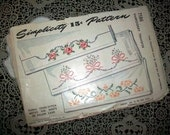 Vintage 1940s Embroidery Transfer Floral Cross Stitch Motifs Pattern For Pillow Cases and Sheets