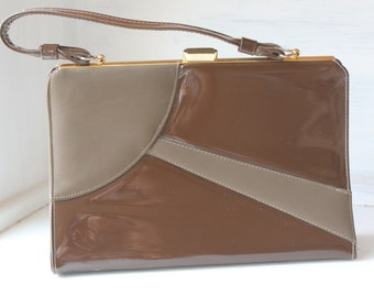 1960's Brown patten and Taupe Leather Handbag