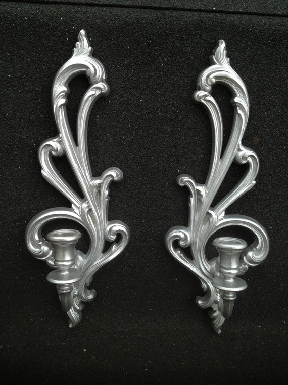 Scroll Candle Holder Sconces Silver Syroco Two Matching