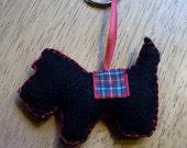 Black Felt Scottie Dog Keyring or Bag Charm - Accessory