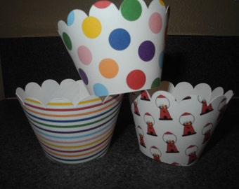 Polka Dot Cupcake Wrappers Primary Colors  Set of 12 Birthday Party