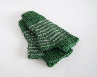 knit harry potter vegan fingerless mittens-- the condyle slytherin wristwarmers