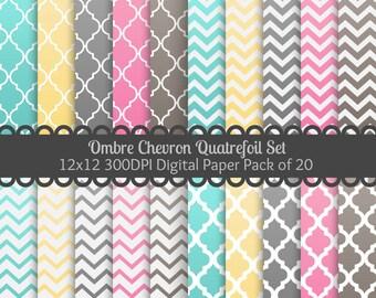 Ombre Chevron Quatrefoil Set Digital Paper Pack of 20--12x12 JPG--Ombre Downloadable Paper in Chevron & Quatrefoil for Cards, Invites, Etc!