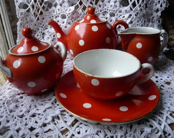 Digoin Sarreguemines tea set tea service tea cup sugar bowl cream mug polka dot confetti white red 1920 home decor kitchen decor shabby chic