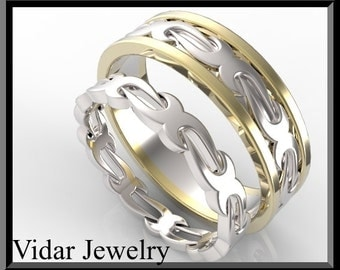 His and Hers Wedding Bands,Matching Wedding Bands Set.Unique Two Tone Wedding Band Set.
