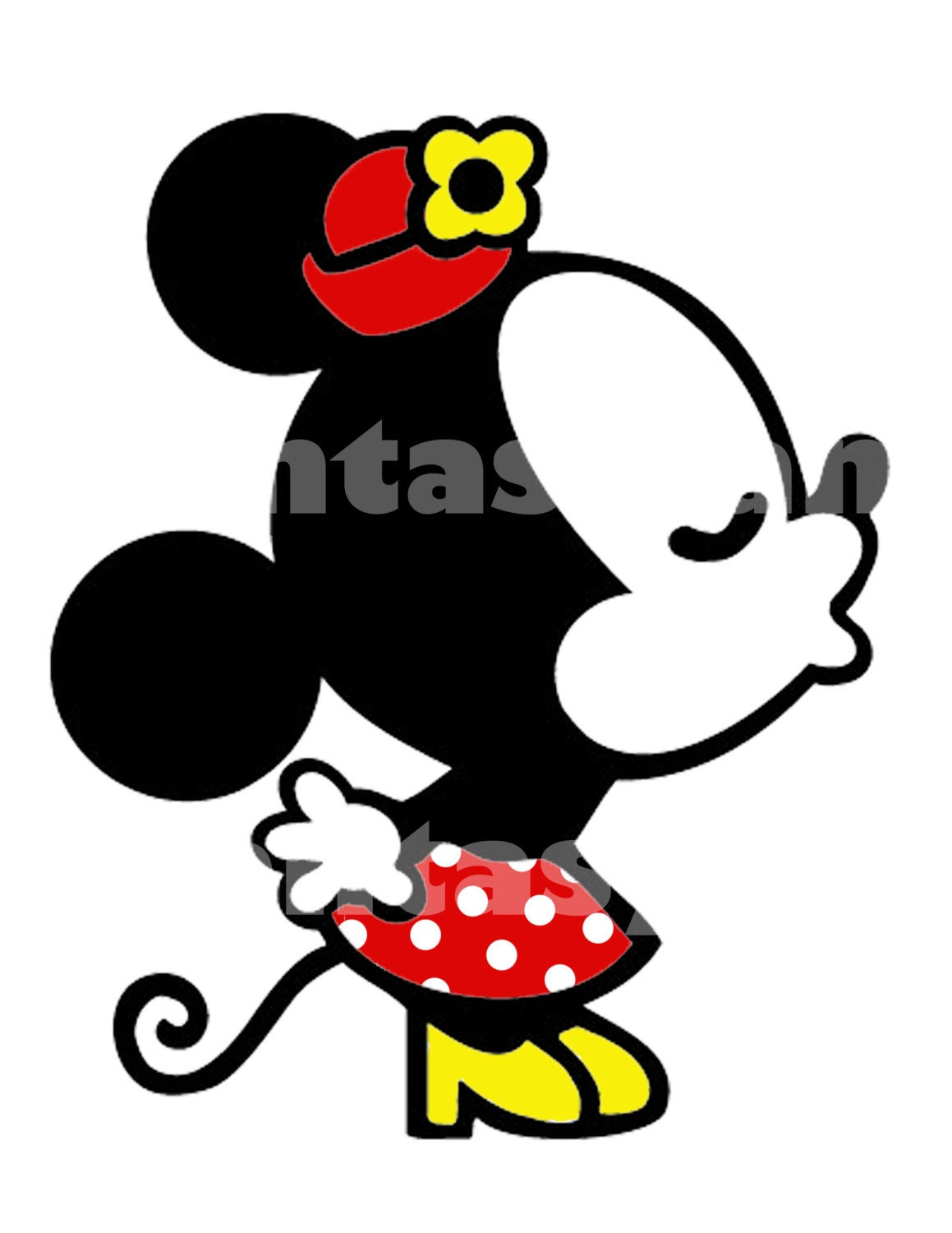 Minnie Mouse Kissing DIY Printable Iron Transfer you print