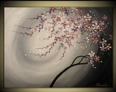 Original Impasto Modern Painting on  Gallery wrapped Canvas 24 x 18, Home Decor, Wall Art --- Purple Blossoms ---- by Tomoko