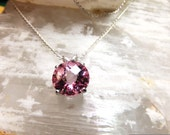 """10mm Round Pink Topaz & Sterling Silver 18"""" Necklace"""