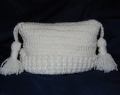 White crochet baby hat with tassles Newborn