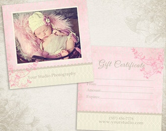 Photography Gift Certificate photoshop template 003 - ID049, Instant Download