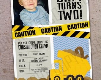 Construction Crew / Dump Truck CUSTOMISED emailed and printable invitations