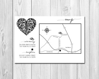 Customizable Event/Wedding Map - Magical Heart - DIY - Printable
