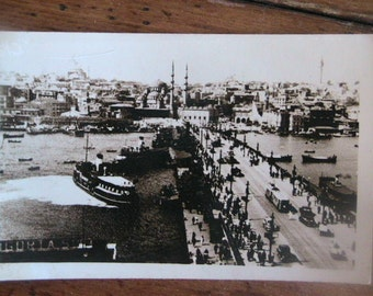 Postcard of Turkey Black and White Photograph Mid Century Retro Vintage Bridge Antique Discoveries