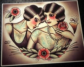 Flapper Lovers Tattoo Flash Design