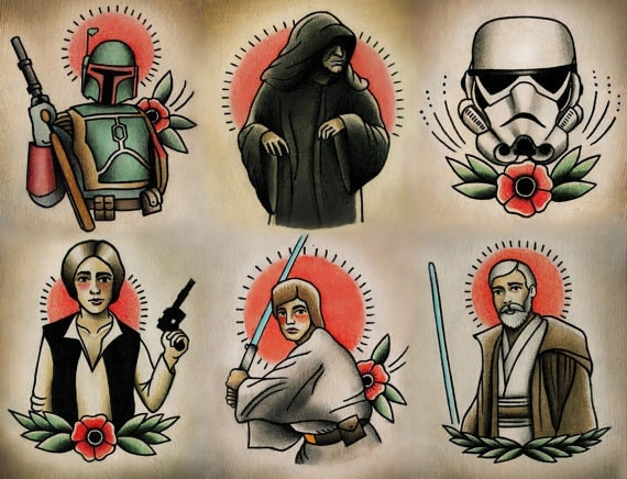 Items similar to Star Wars Traditional Tattoo Flash Set 3 ...