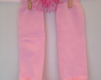 Light Pink Leg Warmers with Pink Organza Ruffle for Newborns, Toddlers & Children
