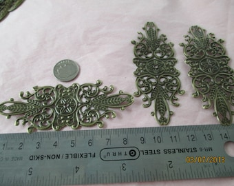 3 Victorian Style Filigree Very Thin for Wrapping for Jewelry Making,  Listing18533