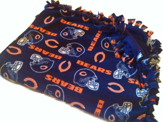 Chicago Bears Blanket - NFL Football Fleece No Sew Quilt - Your FAVORITE Team Tie Throw - Baby and Adult Sizes - Fringe Bedding, Crib