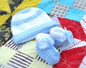 RESERVED Crocheted Baby Hat & Booties Little Boy Blue Sky Cornflower Powder Blue and White Stripe Baby Shower Newborn Bundle of Joy Gift Set