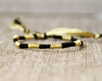 Friendship Bracelet Black and Gold Embroidery Threads Stocking Stuffer