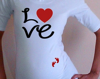"Maternity Cute ""Love"" Maternity Shirt- White"