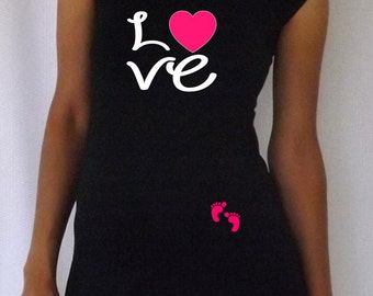 "Funny,cute, maternity Shirt ""Love"" with footprints Perfect for valentine's day or everyday use, cap  sleeves"