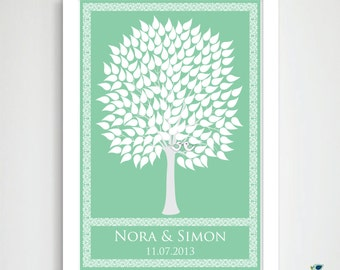 Wedding Tree Guest Book Personalized Art Poster // 2 Love Birds // Victorian Wish Tree // Summer / Fall Tree // 175 Guest // 24x36