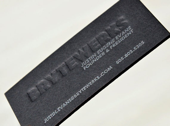 Letterpress Business Cards Black Thick Board with Silver Ink