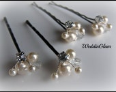 White Ivory Pearl Clip, Bridal Hair Pins, Wedding Hair Accessories, Swarovski Pearl Wedding Hair Pin Set of 4 Hair Pin, Floral Vine Hair Pin