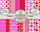 Digital Heart Paper Pack - Instant Download, Love Paper, Fuchsia Pink Red Heart Paper, Scrapbook Background Paper, Invites