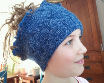 Super Cute, Amazingly Soft, Recycled, UpCycled, Eco-Friendly Blue Acryclic Ear Warmer, Head Wrap Convertible Neck Warmer Scarf Head Band Hat