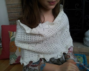 Romantic Victorian Elegant Ivory Lace Open Knit Eco-Chic Upcycled Sweater Wrap, Infinity Scarf Cozy Shrug Neckwarmer Shrug Shawl Cowl Hood