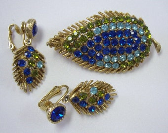 Vintage Blue & Green Feather Leaf Brooch and Earring Demi Parure Set