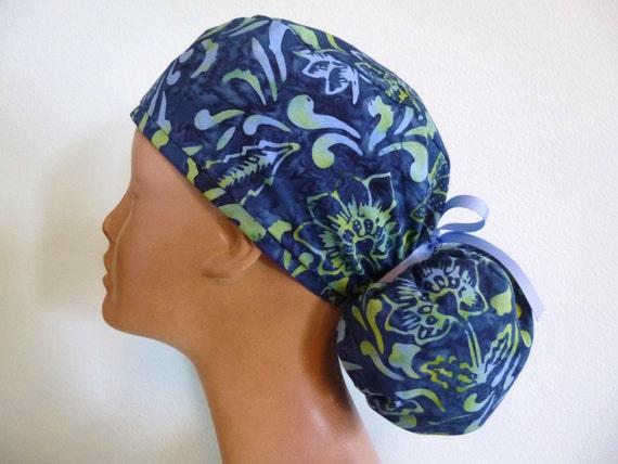 Linda's Lids Women's Surgical Ponytail Scrub Hat Cap- Flourish