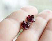 Garnet Flowers sterling silver stud earrings -  Spring stud earring