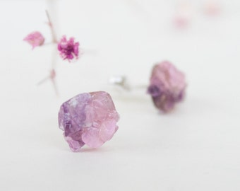 Stud earrings - Spring studs - Amethyst and rose quartz stud earrings