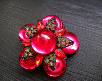 Brilliant Cherry Red Brooch