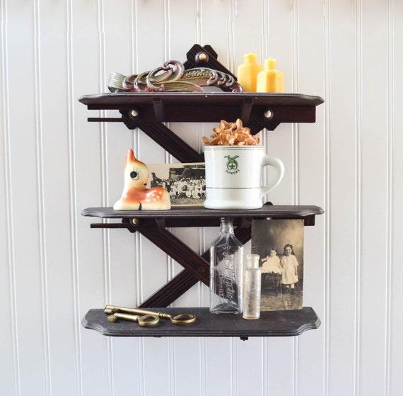 unique antique collapsable wall shelf by peachparlorvintage