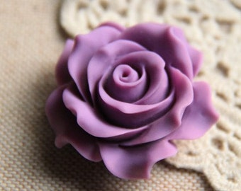 2 pcs of resin rose cabochon 36mm-0284-34-amethyst