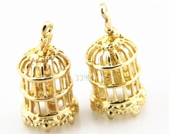 6pcs of brass bird cage pendant charm with bird inside 10x14mm-1894-18K GOLD