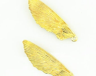 2 pcs of brass wing charm-33x15mm-1175-raw brass