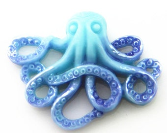 6 pcs of resin Octopus cabochon 20x25mm-RC0104-HAND painted pearilzed -Blue